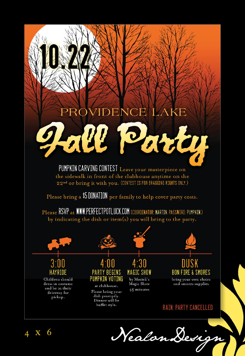 Nealon Design Fall Halloween Block Party Invitation