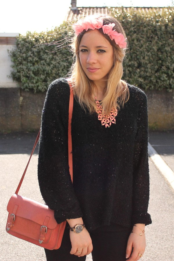 Headband collier sac corail