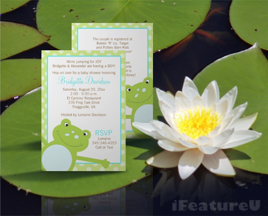 I feature u green leap frog baby shower invitations green leap frog baby shower invitations filmwisefo