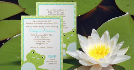 i Feature U Green Leap Frog Baby Shower Invitations