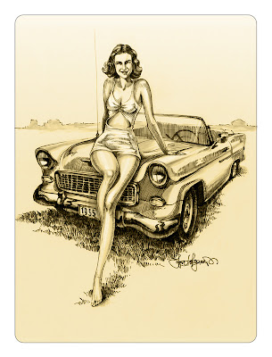 woman portrait with Chevy car drawing