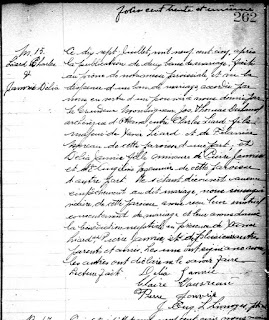 Marriage record of Charles Liard and Delia Belair 1905
