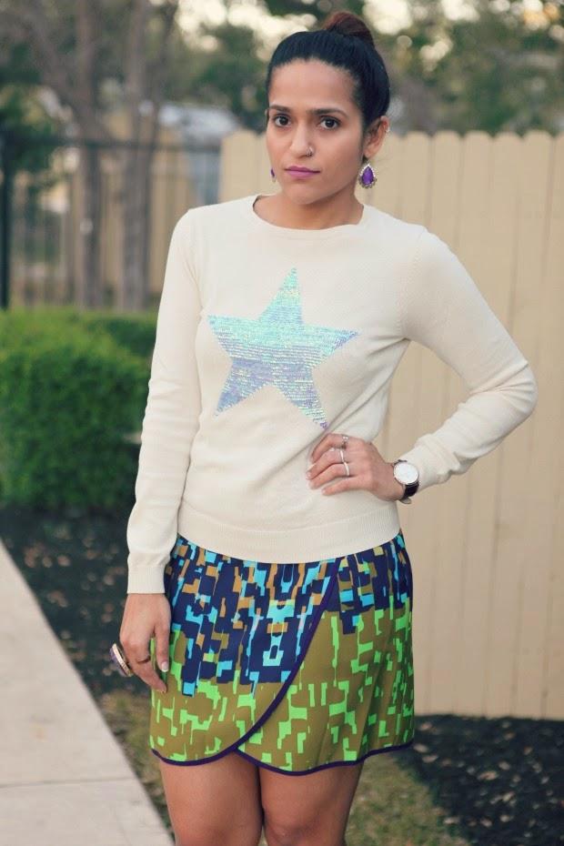 ASOS Star Sweater, Julie Dillon Dress, Charlotte Russe Pumps, Tanvii.com