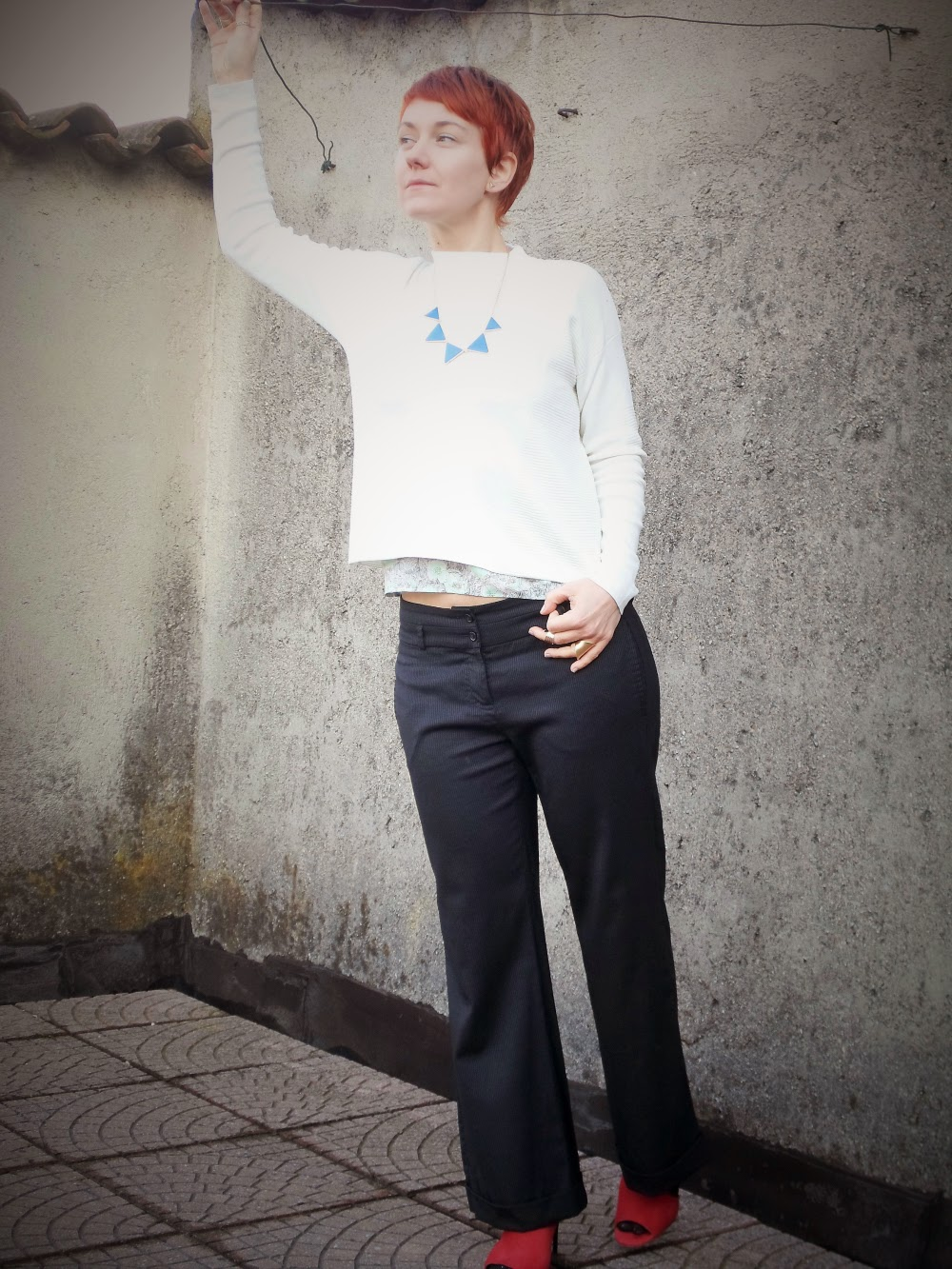 Wideleg pants, short white ribbed sweater, layered flower top, triangle necklace, red shoes, red hair / Slouchy Pinstripes That You Don't See | Funky Jungle, fashion and personal style blog