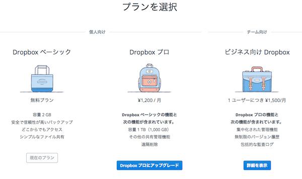 プラン - Dropbox