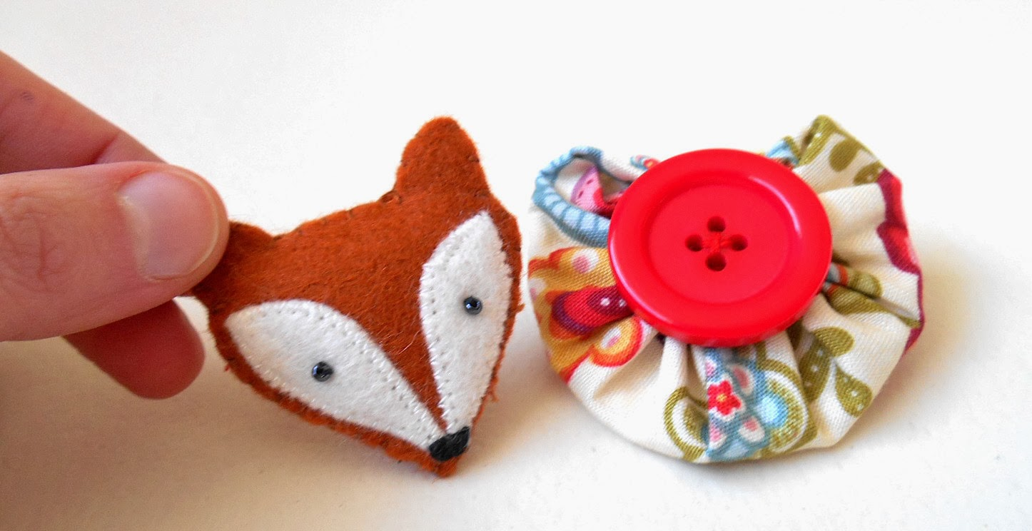 brown felt fox brooch