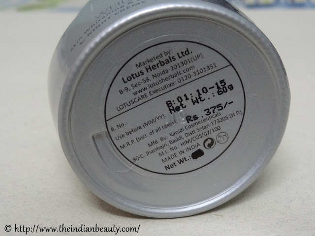 lotus herbals whiteglow night creme price