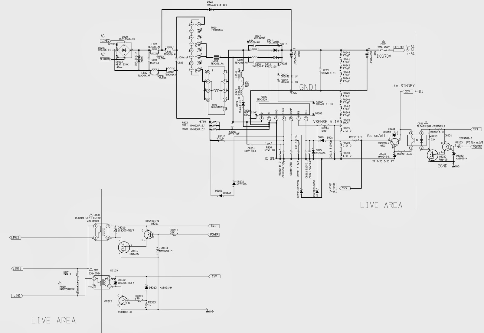 toshiba 32 37 42wl58 - series lcd tvs  u2013 power supply schematics  circuit diagram
