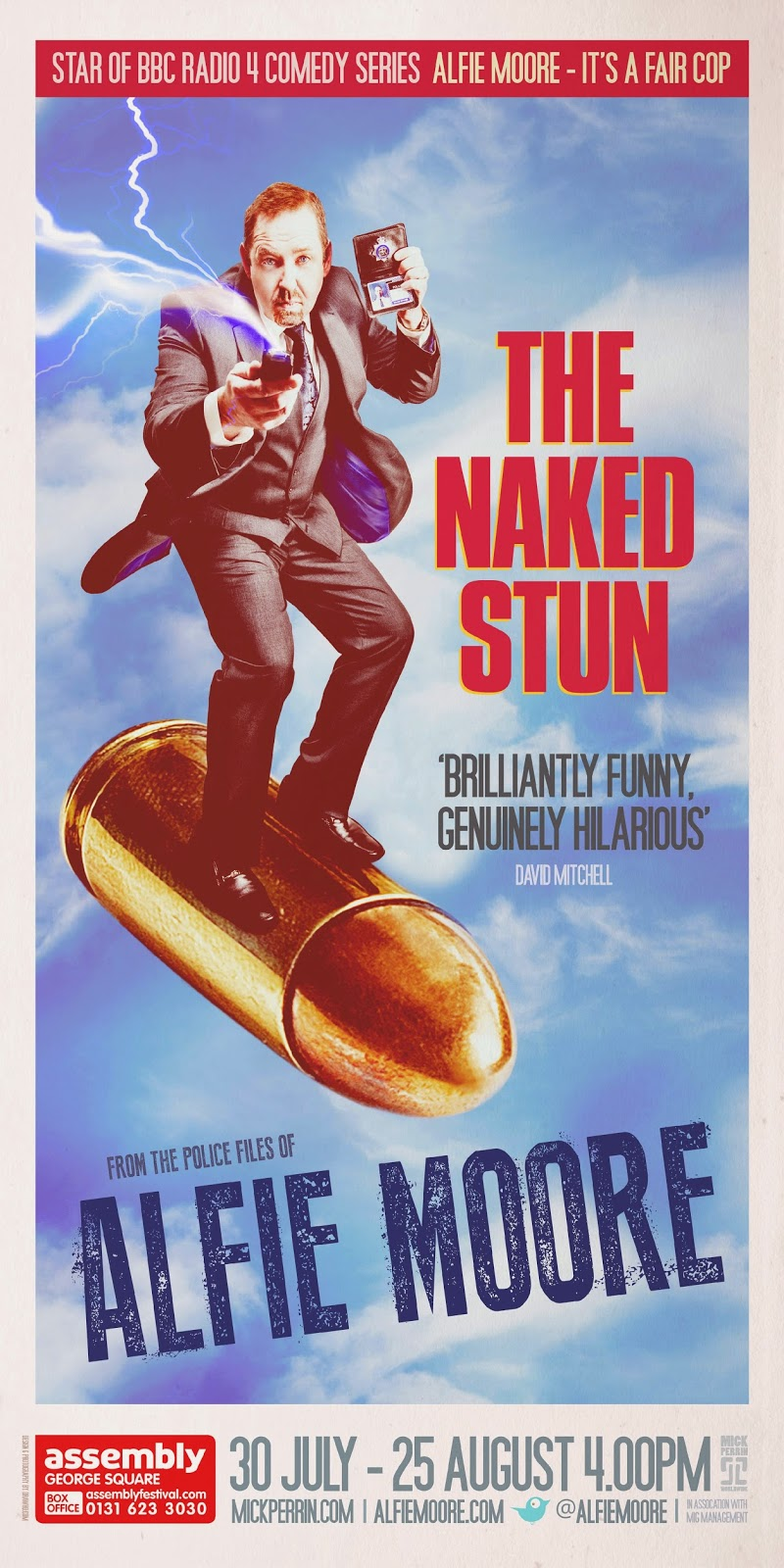 Alfie Moore - The Naked Stun - Edinburgh Fringe - Assembly George Square Studios - MIG Management - bbc Radio 4 - It's a Fair Cop -Police Comedian
