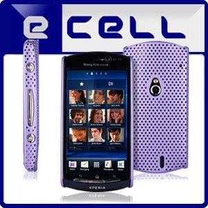 PURPLE PERFORATED MESH HARD BACK CASE COVER FOR SONY ERICSSON XPERIA NEO V