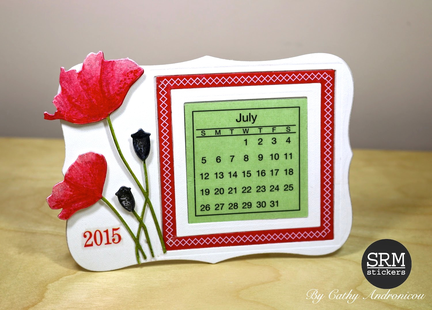 Calendar Craft Projects : Srm stickers poppies mini calendar tutorial by cathy a
