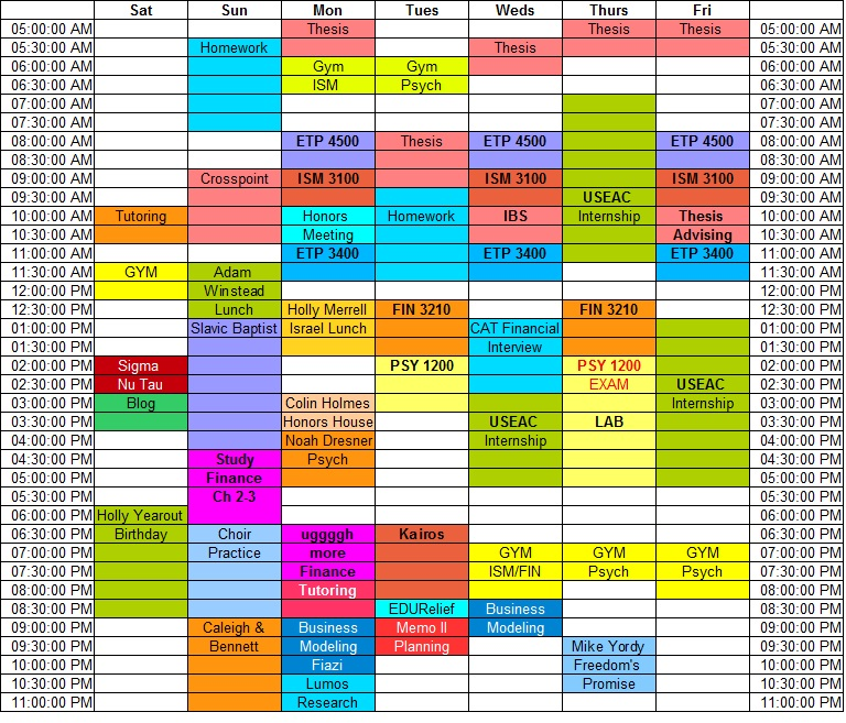 my weekly schedule Download my weekly schedule template for yourself (in microsoft excel), or begin your own from scratch start with sunday and work your way down the day, blocking out segments of your day into different color-coded blocks.