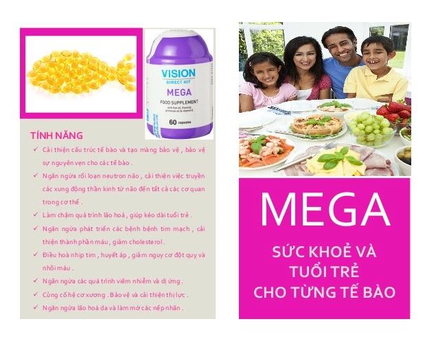 Thực phẩm chức năng Mega Vision tim mạch, tiêu hóa