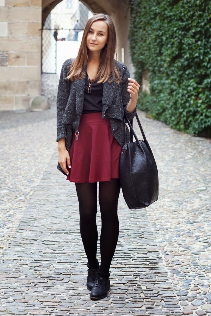 Oxblood Skater Skirt and Leggings.