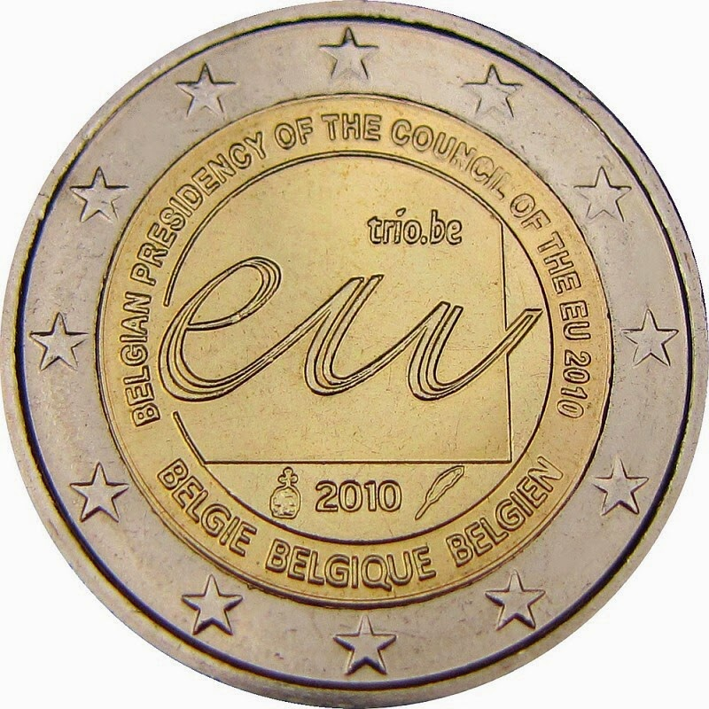 2 Euro Commemorative Coins 2010 Belgian Presidency Council European Union