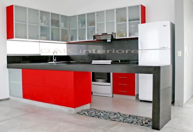 Jose lira muebles en melamina puertas de vidrio con for Modelo de cocina rojo y gris
