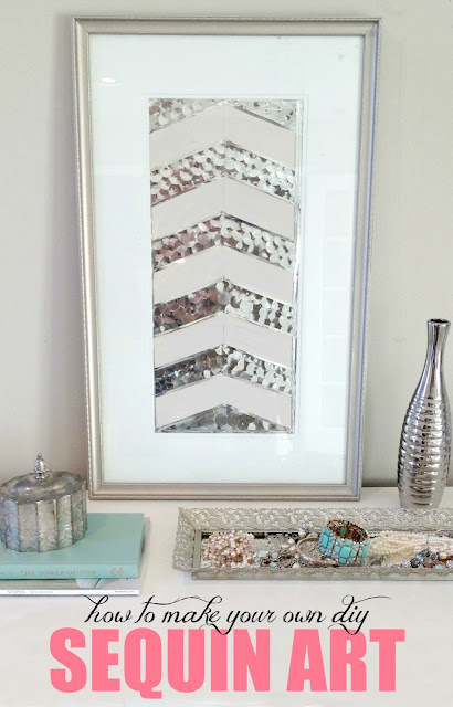 How to make DIY herringbone sequin art out of old thrift store art! Check out the before pics!