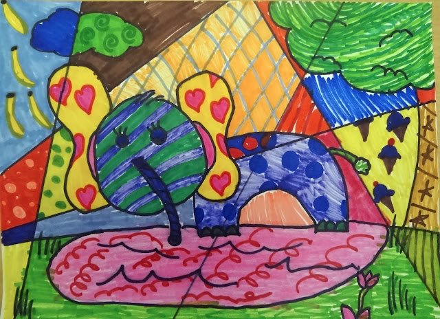 Romero Britto kids art lesson, romero britto lesson for 3rd grade