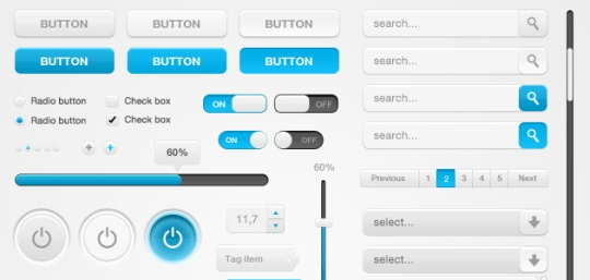 White & Blue Web element PSD set