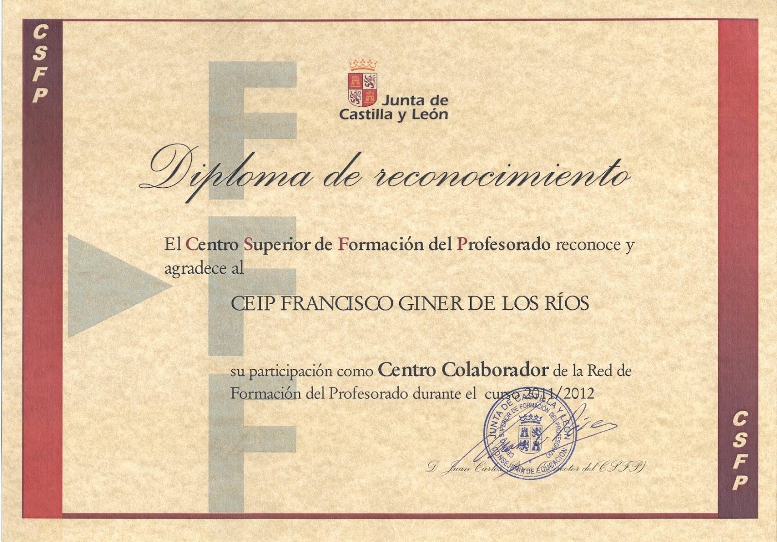 diploma de participacion en el plan de formacion de centro 2011