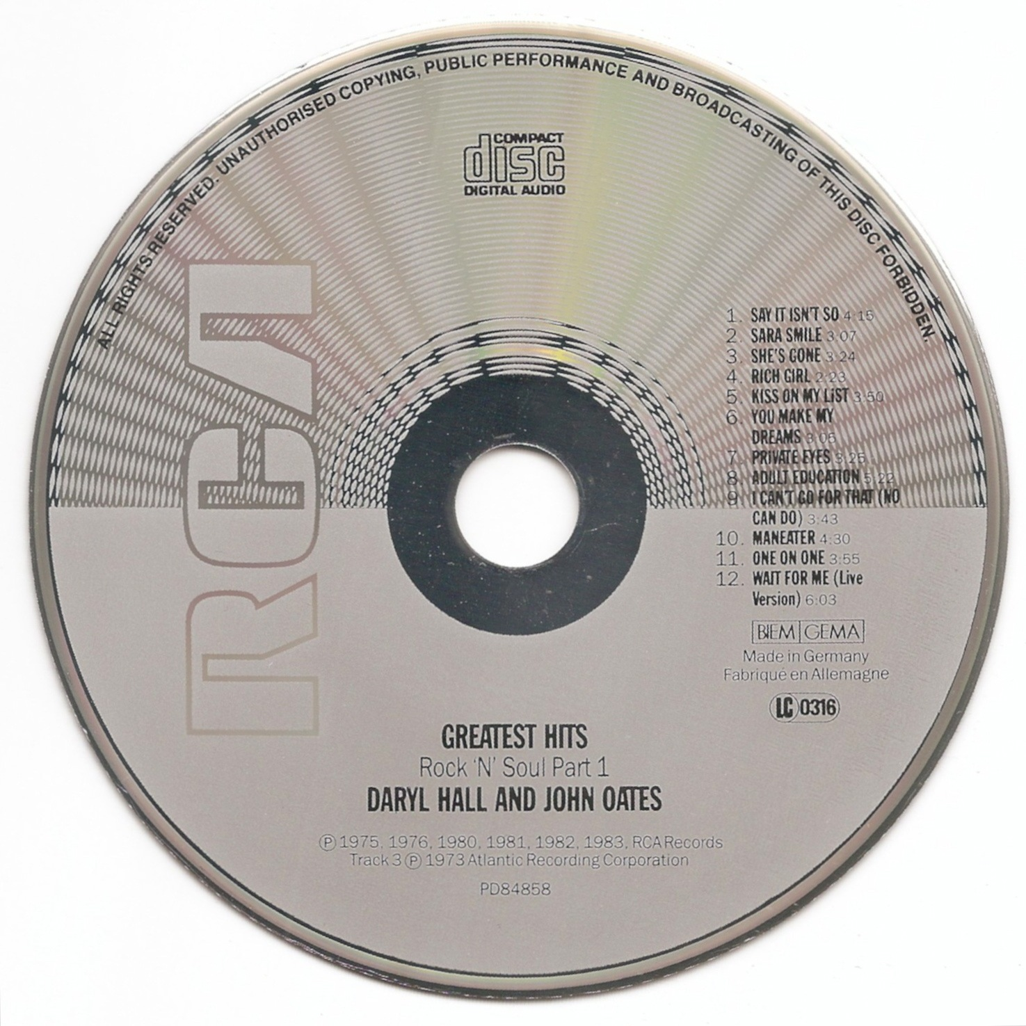 Greatest Hits Rock N Soul Pt 1 Daryl Hall John Oates: The First Pressing CD Collection: Hall & Oates
