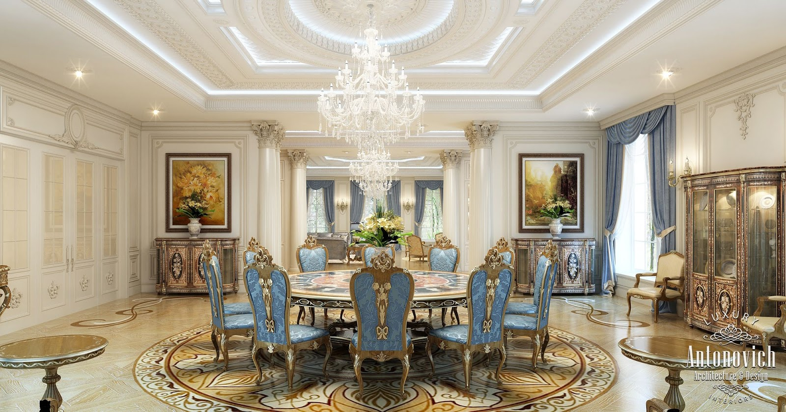Luxury antonovich design uae villa design in the uae for Dining room in arabic