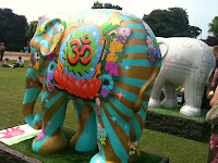 Decorated elephant in London park