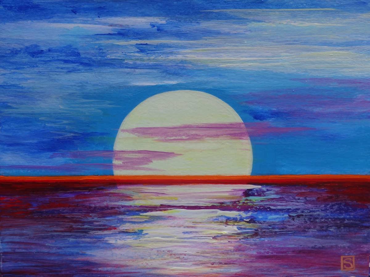 Moon Over Ocean Acrylic Painting For Beginners