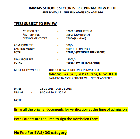 Ramjas School Sector IV R.K.Puram New Delhi Fees Schedule And Fees Structure-Nursery Admission–2015-16