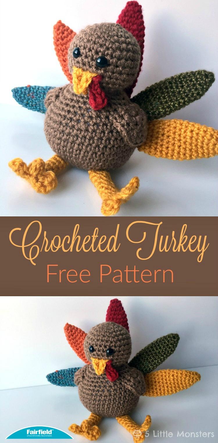 5 Little Monsters Crocheted Turkey For Thanksgiving