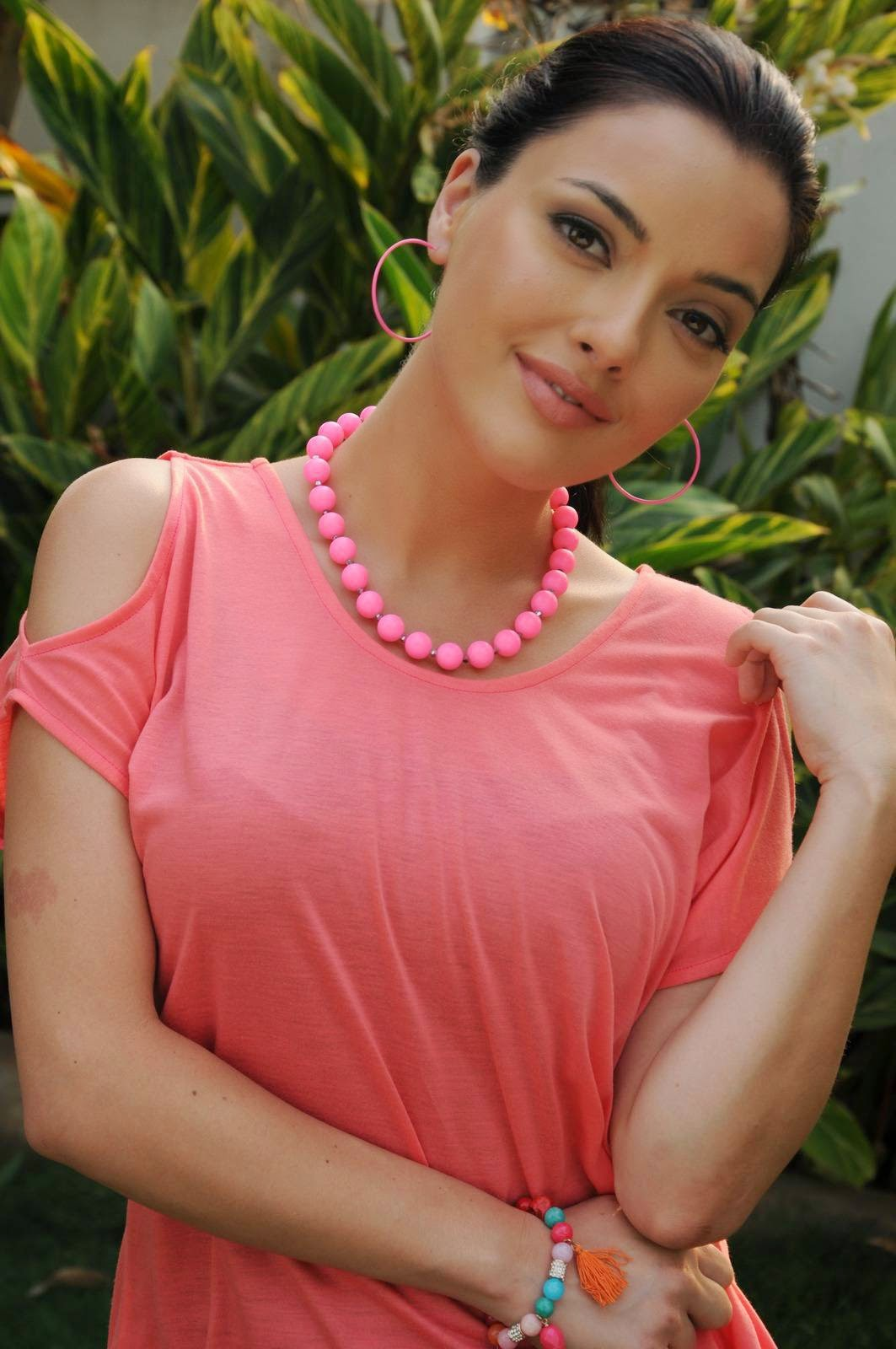 Actress Kristina Akheeva Latest Cute Hot Orange Red Top Dress Spicy Photos Gallery