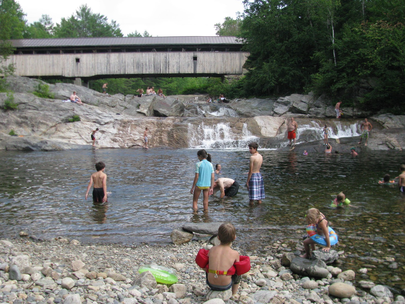 Covered Bridge Black Water River Old Swimming Hole Andover