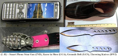 Stun gun, grenade belt buckle, razor blade in shoe, and throwing knives.