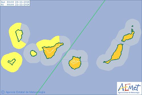Alerta Naranja temporal Gran canaria, Lanzarote y Fuerteventura, 20 noviembre