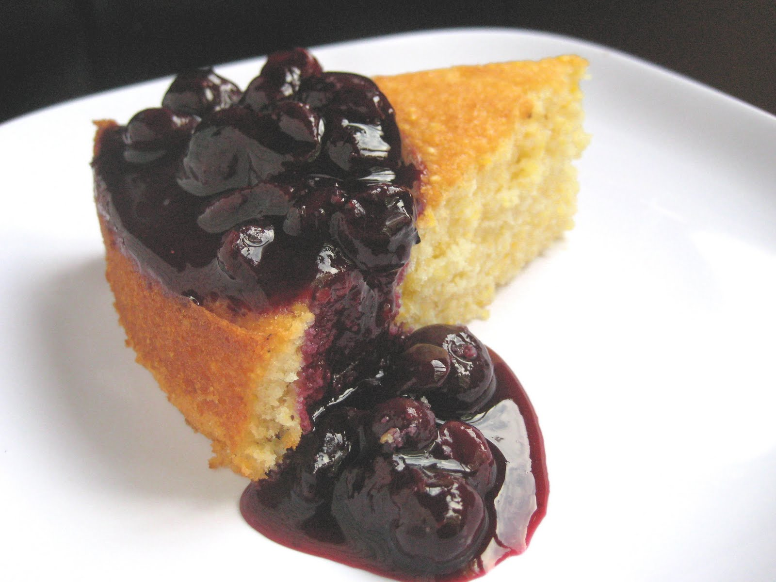 The Hedonistic Kitchen: Corncake with Blueberry Compote