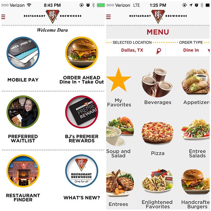 BJ's Dine In Order Ahead Mobile App