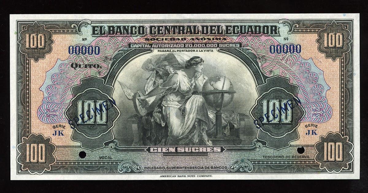 Ecuador Banknotes 100 Ecuadorian Sucres Banknote 1939 1967