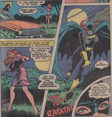 Wait, she was wearing her Batgirl outfit, under her clothes, on a date? That date was either going nowhere, or somewhere great...