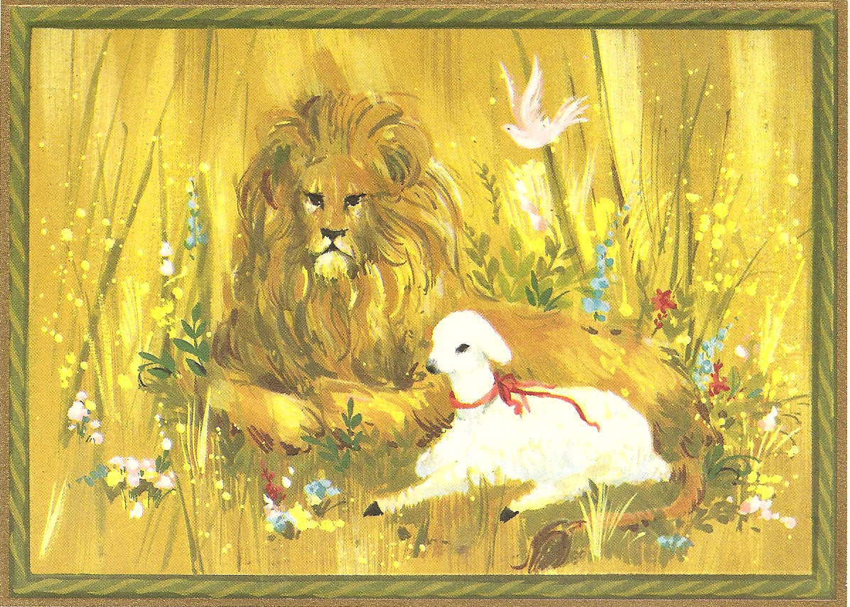 PowerOfBabel: Nanny\'s Christmas Cards: Lion and Lamb