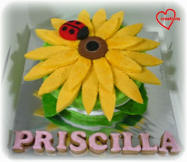 ... You: Sunflower and Ladybug Chiffon Cake with Strawberries and Cream