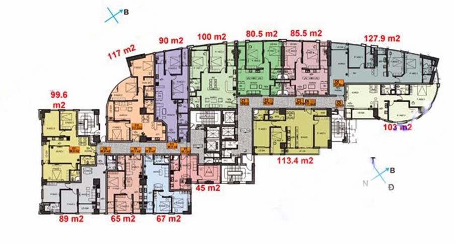 Mặt bằng căn hộ chung cư Thăng Long Yên Hòa
