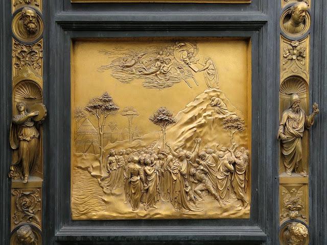 Moses, copy of the original bronze panel of the Gates of Paradise by Lorenzo Ghiberti, Baptistry of Saint John, Florence