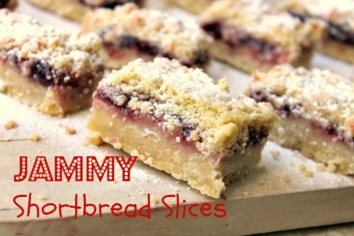 Jammy Shortbread Slices