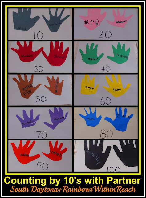 photo of: Counting by tens using Cut Out Handprints for 100 Day of School Celebration