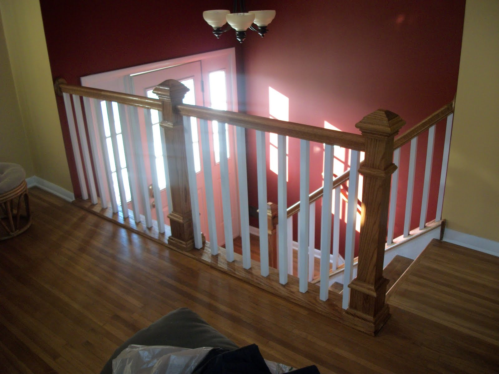 interior stair Case railing designs, White Baluster Oak stair railings