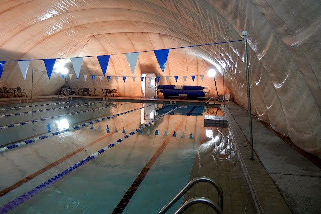 The six lane lap pool at the Fayetteville Athletic Club