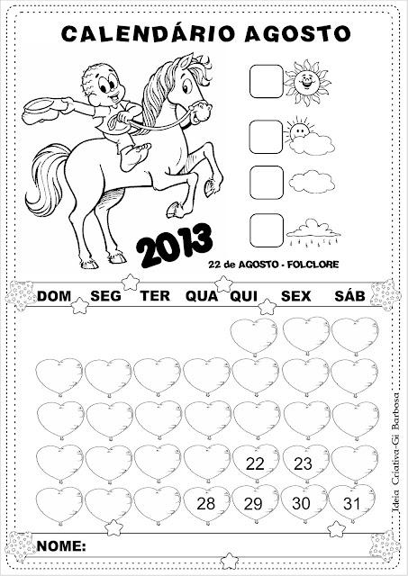 Calendários sem numeração Turma da Mônica Agosto 2013