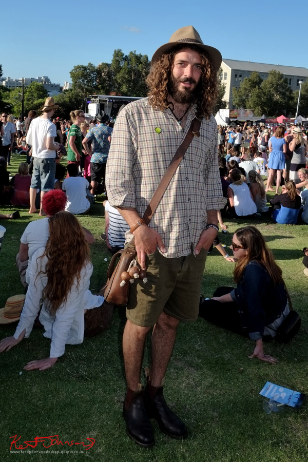 Innner city country style, RM Williams men's boots, hat, check shirt, man bag & shorts, Newtown Festival, Fujifilm X-Pro1,