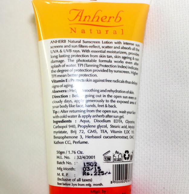 Anherb Sun Screen With Sunflower Extract- SPF 40 Pa+ Review