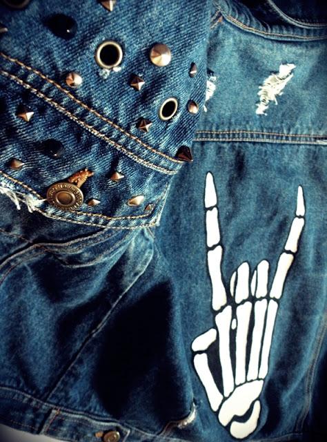 diy kamizelka ćwieki rock moda jeans malowane